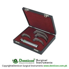 Corona™ Premium Fiber Optic McIntosh Laryngoscope Set With Battery Handle Ref:- AN-590-01 and Blades Ref:- AN-410-01 to AN-410-04 Stainless Steel,