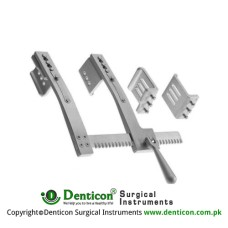 Burford Rib Spreader With 2 Pairs of Lateral Blades Aluminium, Size of Lateral Blades 1 - Size of Lateral Blades 2 - Spread 47 x 62 mm - 65 x 62 mm - 300 mm