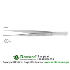 Dissecting Forceps Straight - 1 x 2 Teeth Stainless Steel, 17.5 cm - 7""