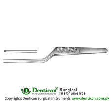 Yasargil Micro Forcep Bayonet Shaped - 1 x 2 Teeth Stainless Steel, 16 cm - 6 1/4""