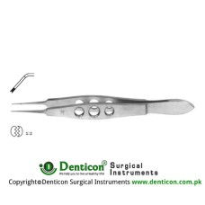 "Castroviejo Suture Tying Forcep Angled - 1 x 2 Teeth with Tying Platform Stainless Steel, 11 cm - 4 1/4"" Tip Size 0.9 mm"