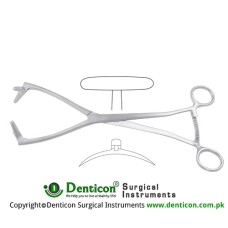 "Collin Uterine Seizing Forcep Stainless Steel, 26 cm - 10 1/4"" Jaw Size 40 mm"