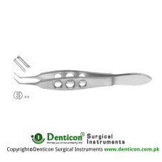 "McPherson Suture Tying Forcep Angled - 1 x 2 Teeth with Tying Platform Stainless Steel, 10 cm - 4"" Tip Size 0.4 mm"