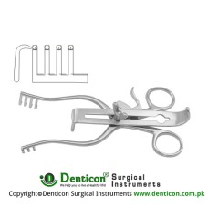 Henley Retractor Complete 3 x 4 Blunt Prongs - With 3 Central Blades Ref:- RT-840-19, RT-840-25 and RT-840-32 Stainless Steel, 16 cm - 6 1/4""
