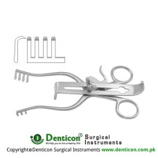 Henley Retractor Complete 3 x 4 Sharp Prongs - With 3 Central Blades Ref:- RT-840-19, RT-840-25 and RT-840-32 Stainless Steel, 16 cm - 6 1/4""