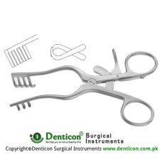 Jefferson Self Retaining Retractor 2 x 3 Blunt Prongs Stainless Steel, 14 cm - 5 1/2""