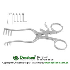 Weitlaner Self Retaining Retractor 3 x 4 Sharp Prongs Stainless Steel, 16 cm - 6 1/4""
