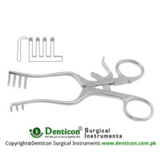 Weitlaner Self Retaining Retractor 3 x 4 Sharp Prongs Stainless Steel, 13.5 cm - 5 1/4""