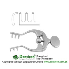 Jansen Self Retaining Retractor 3 x 3 Blunt Prongs - With Adjustment Screw Stainless Steel, 10 cm - 4""