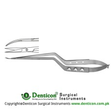 Micro Scissor Curved Upwards - Bayonet Shaped Stainless Steel, 18.5 cm - 7 1/4""