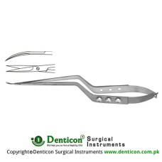 Potts Micro Scissor Curved - Bayonet Shaped Stainless Steel, 23 cm - 9""