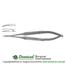 "Micro Scissor Curved - Flat Handle Stainless Steel, 23 cm - 9"" Blade Size 10 mm"