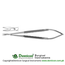 Micro Suture Cutting Scissor Round Handle- One Serrated Cutting Edge - Straight Stainless Steel, 18 cm - 7""