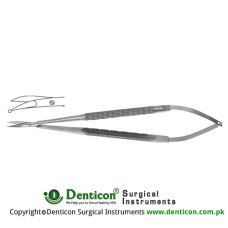 Micro Scissor Round Handle - One Blade with Probe Tip - Curved Stainless Steel, 18 cm - 7""