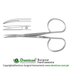Ribbon Iris Scissor Curved - Flat Shanks - Sharp , 9.5 cm - 3 3/4""