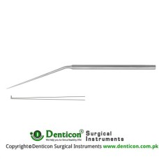 "Micro Ear Needle Angled 90° Stainless Steel, 15.5 cm - 6"" Tip Size 0.6 mm"