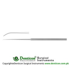 "Barbara Micro Ear Needle Angled 25° Stainless Steel, 16 cm - 6 1/4"" Tip Size 0.3 mm"